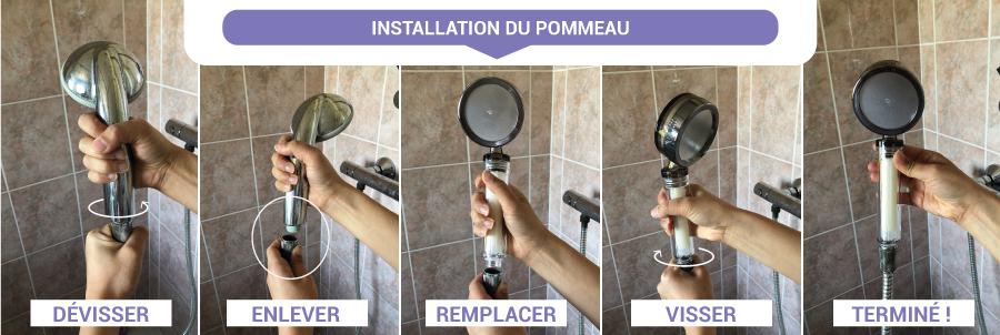 Installation pommeau de douche filtrant